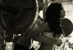 Hot woman weightlifting