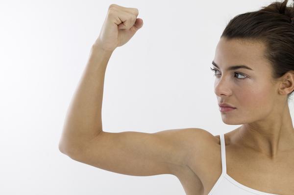 Woman muscle flex