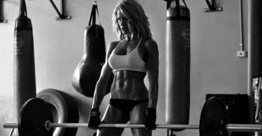 Sexy fitness girl deadlift