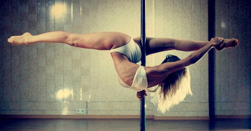 Hot female pole dancing